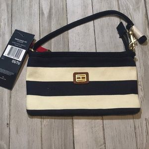 NWT Tommy Hilfiger Rugby Striped Zip Wristlet